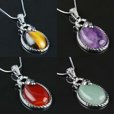Snake Wrap Oval Amethyst Agate Gemstone Pendant Charm Fit Necklace Healing Reiki