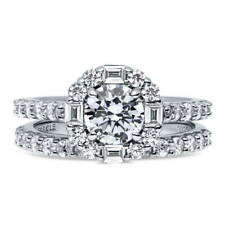BERRICLE Sterling Silver Round CZ Art Deco Halo Engagement Ring Set 2.41 Carat