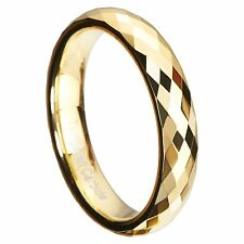 4mm Gold Plated Tungsten Wedding Band Multi-Faceted Prism Cut Ring