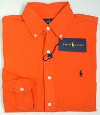 NWT $98 Polo Ralph Lauren Shirt Orange Long Sleeve Mens Size S NEW 100% Cotton