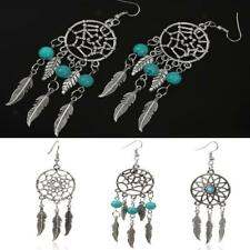 Women Fashion Antique Silver Dream Catcher Turquoise Beads Dangle Hook Earrings