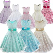 Flower Girls Birthday Pageant Wedding Party Formal Princess Kids Baby Lace Dress