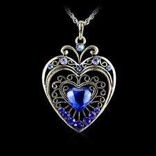 Love Heart Wedding Fashion Retro Rhinestone Crystal Women Necklace Pendant Gifts