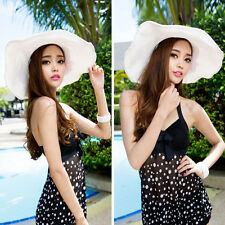 New Fashion Womens Girls Wide Large Brim Summer Beach Sun Straw Derby Hat Cap