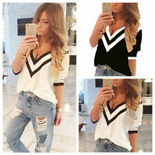 Sexy Casual Women V-Neck Loose T-Shirt Chiffon Short Sleeve Tank Tops Blouses