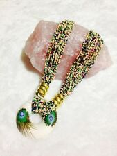 Exotic Beaded Handmade Necklace with Peacock Statement Pendant