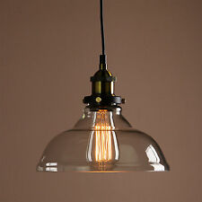 Vintage Industrial Pendant Light Loft Clear Glass Shade Ceiling Lamp Chrome