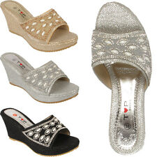 Ladies Wedge Heel Womens Slip On Wedding Evening Party Mule Sandal Shoe Glittery