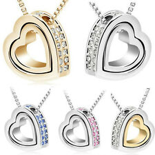 Womens Crystal Heart to Heart Charm Pendant Chain Necklace Silver Plated Jewelry
