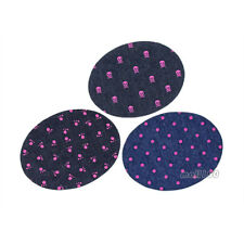 Pink Paw Dot Skull Patches Sew on Iron on Badge Patches Oval Repair Applique