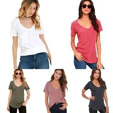 Women V-Neck Pocket Short Sleeve Top Casual Blouse Shirt Sexy Basic T-shirt GIFT