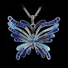 New Crystal Huge Butterfly Rhinestone Pendant Sweater Long Chain Necklace Party