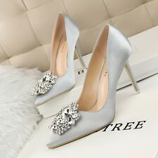 Ladies High Heels Pumps Rhinestone Buckle Satin Pointed-toe Stiletto Women Shoes