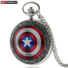 Antique Captain America Pocket Watch Quartz Necklace Pendant Chain Gift Retro