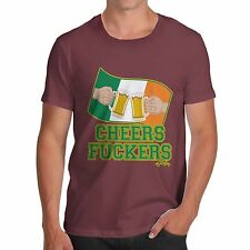 Twisted Envy Men's Cheers F**kers Irish Flag Beer St Patrick's Day T-Shirt