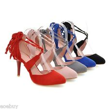 Women's High Heels Suede Fabric Pointed Shoes Pumps Lace up Sandals US Size S225