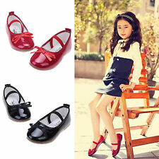 Girls flat ribbon bow knot shiny dancing shoes princess dress formal shoes