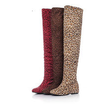 Ladies' Fashion Shoes Leopard Faux Suede Wedge Heel Over Knee Boots AU Size b244