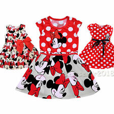 Cute Dot Minnie Flowers Princess Party Dress For 1-7 Years Todder Baby Girls