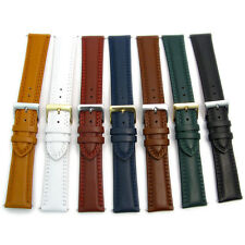 Padded Double Stitched Leather Watch Strap Band 18mm 20mm 22mm 7 Colours