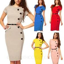 Ladies one piece Bodycon Sheath Womens party Wiggle office Victorian Dress size