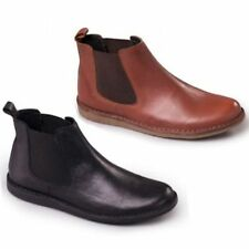 Padders JEZ Mens Leather Slip On Twin Gusset Wide Fit Casual Dealer/Chelsea Boot