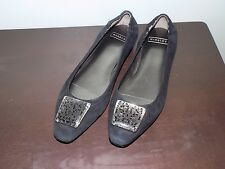"""Gently Pre-Owned Women's Harold's """"Madison"""" Black Suede/Leather Flats - Size 8M"""