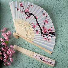 6 X Hand Held Folding Delicate Cherry Blossom Silk Fans Wedding & Party Favors