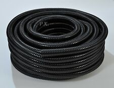 "Black Flexible Pipe 25mm 1"" Corrugated Flexi Hose Marine Koi Fish Pond Garden"
