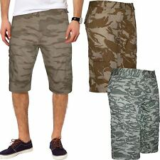 MENS CARGO CAMO SHORTS ARMY WORK COMBAT CASUAL PANTS CAMOUFLAGE GREY GREEN 30-38