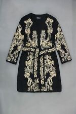 Womens Cashmere Wool Court Dress Gold Line Embroidered Jacket Coat Trench Parka