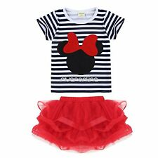 Infant Baby Minnie Mouse Bow T-Shirt Top+Skirt Dress Outfit Set 12M-5T Clothes