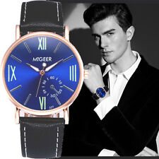 Luxury Crocodile Stainless Steel Faux Leather Mens Analog Watch Wrist Watches