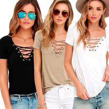 Fashion Womens Loose Pullover T Shirt Lace Up V-Neck Cotton Tops Shirt Blouse