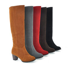 Ladies' Fashion Shoes Faux Suede Block Med Heel Knee High Boots AU All Size b031