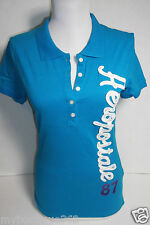 AEROPOSTALE BLUE POLO TEE TOP EMBROIDERED LOGO HALF BUTTON FRONT NEW NWT