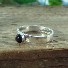 Wide Band Ring 3mm Silver Hammered with Black Onxy Gemstone
