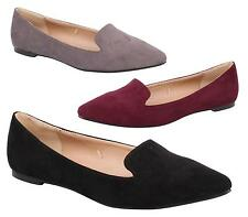 Womens Ladies Flats Dolly Pointed Toe Faux Suede Ballerina Ballet Pumps Flat Sho