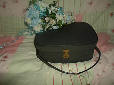 Pre-Loved Grey Vintage Vanity Case+Key Retro Accessory Wedding Prop FREE UK POST