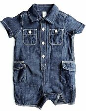 Baby Gap Boy DARK BLUE DENIM Effect Cargo Shortie Romper Playsuit 3-12 £19.95