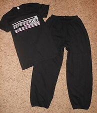 2 LOT Motionwear Black Dance HIP HOP Jazz T Shirt Sweat Pants Outfit Adult Small