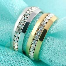 Size 7-11 Men/Women's Stainless Steel Ring Rhinestone Ring Band Couple Jewelry