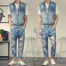New Fashion Men's Denim Jumpsuits Vests Overalls Rompers Casual Distressed Jeans