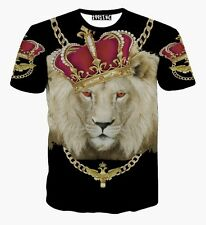 Funny Crown Dog 3D Print Unisex Tees Casual Short Sleeve Womens Mens T-shirts