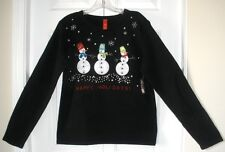 NWT Holiday Time Womens Black Beaded Snowman Ugly Christmas Sweater S-XXL 4-20