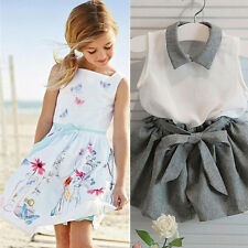 Kids Baby Floral Butterfly Print Girls Princess Gown Dress+T-Shirt Shorts Set JM