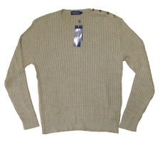 $895 Ralph Lauren Purple Label Mens Italy Silk Linen Knit Button Sweater New