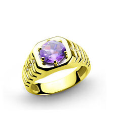 Men's Ring REAL 10k Solid Yellow Gold with 2.40ct Amethyst and 0.03ct DIAMONDS