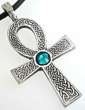 PEWTER Ankh Egypt Cross SWAROVSKI CRYSTAL Birthstone DECEMBER Blue Topaz PENDANT