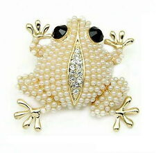 Hot Animal Frog Wedding DIY Bouquet Pearl Brooch Pins Women Lady Vintage Jewelry